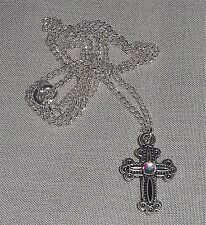 Tibetan Silver Double Sided Rhinestone Cross Pendant Necklace with Chain