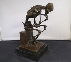 Art Deco Sculpture Bronze Marble Base Skeleton Skull Thinker Statue