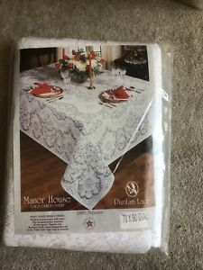 NWT Vintage Manor House Lace Tablecloth  White Oval 70x90