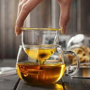 Tea Cup With Filter Hand Blown Heat Resistant Glass Lid Infuser 300ml Bottle Mug
