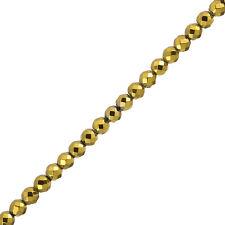 Plaqué or hématite perles à facettes (6mm) semi-précieuses (H94/1)
