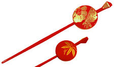Japanese Hair Ornament Kanzashi Red Ball Stick Golden Peony Butterfly