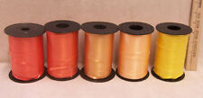 Lot of 5 Curling Ribbon Spools Crafts 4 Shades of Orange & 1 Yellow Balloons