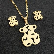 Golden Stainless Steel Jewelry Set Love Hollow Bear Shaped Pendant Earrings Set