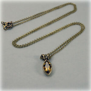 """9ct Gold marquise-shaped Citrine Pendant on 18"""" Trace Chain"""
