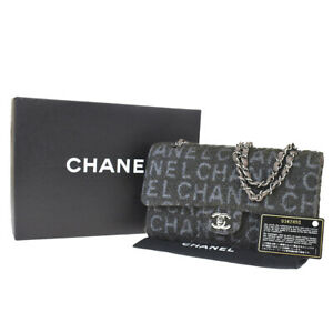 Auth CHANEL CC Matelasse Double Flap Chain Shoulder Bag Wool Leather 814LB007