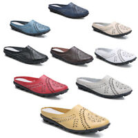 Hollowed Flowers Design Womens Loafers Mules Flats Backless Casual Slider Shoes