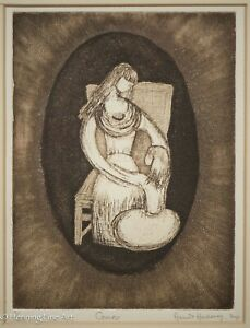 """Beautiful Vintage Etching by Harriet Hochberg """"Cameo"""" Mother and Daughter Love"""