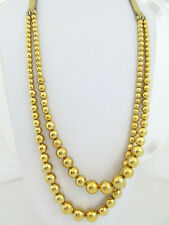 Michael Kors Modern Gold-Tone Bead 2-Row Leather Buckle Necklace $165 NEW