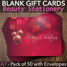 Christmas Gift Vouchers Blank Beauty Salon Card Nail Massage x50 A7+Envelope R