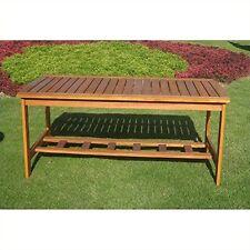 International Caravan Hannon Outdoor Patio Two-tier Wood Coffee Table