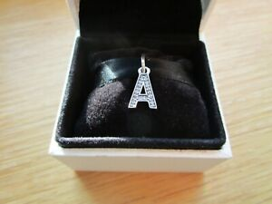 PANDORA Letter A Pendant Charm Genuine 925 S/Silver - Initial ' A ' With Pouch