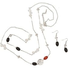 NEW Long Cultured Freshwater Pearl & Black Onyx Station Necklace in Silvertone