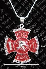 Red Maltese Cross Firefighter Fireman Silver Plated Charm Necklace Pendant Chain