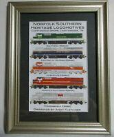 Norfolk Southern Heritage Locomotives  Wood Framed and Matted Print