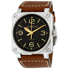 Bell and Ross Aviation Gold Heritage Leather Mens Watch BR0392-GOLD-HER