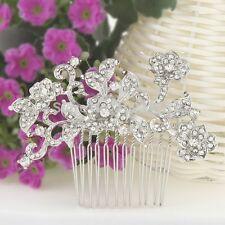 Silver Bridal Wedding Austrian Crystal Orchid Flower Hair Clip Comb Head Piece