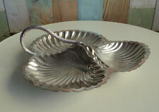 Lovely Antique Art Deco Hardy Bros Silverplate Handled 3 Section Shell Dish