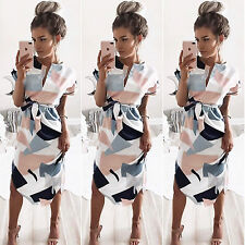UK Womens Geometric Bodycon Short Sleeve Lady Casual Mini Dresses Evening Party