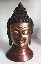 Grande Buddha Testa 2kg Heavy Budha Statuina Ottone Massiccio Ornamentale