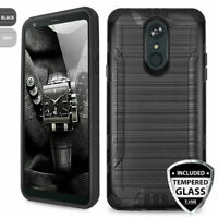 For LG Stylo 4 / 4 Plus Phone Case Brushed Armor TPU Cover +Tempered Glass