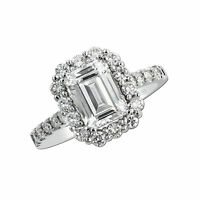 Emerald&Round Cut Solitaire 2.55 Ct Diamond Engagement Ring 18k Real White Gold