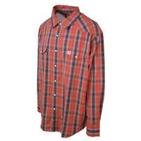 Carhartt Men's S26 Orange Brown Plaid L/S Woven Shirt 2XL-2XLT (Retail $45)