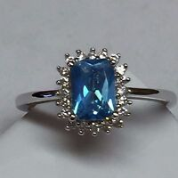 Gorgeous 1ct London Blue Topaz 925 Solid Sterling Silver Cushion Cut Ring sz 8