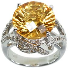 Citrine Gemstone 8.70 carat Dazzling Sterling Silver Ring Size O