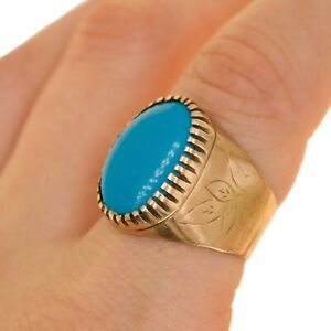9ct Vintage SIGNET mens ring Turquoise stone UK Size P BHS