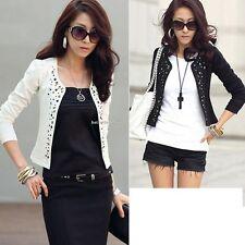 Women Ladies Casual No Button Rivets Blazer Slim Lady OL Suit Coat Jacket Casual