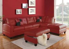 Sectional Red Sofa Couch Chaise Tufted Bonded Leather Plush Cushion Pillows