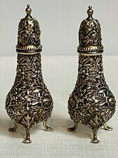 Antique S. Kirk & Son Repousse Sterling Silver Footed Salt & Pepper Shakers