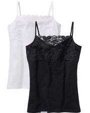 2 Top Schwarz und Weiß Spitze S M L Sommer Shirt Baumwolle Elasthan neu 377
