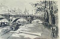 NOUVEAU PONT, PARIS. AQUARELLE SUR PAPIER. SIGNÉ A. GUERIN. VERS 1940.