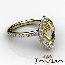 Diamond Engagement Marquise Proposed Pave Ring 14k Yellow Gold Semi Mount 1Ct