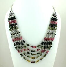 NATURAL FINE TOURMALINE CHIPS GEMSTONE BEADS BEAUTIFUL CHARMING NECKLA