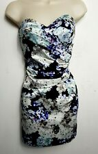 LIPSY BODYCON MINI DRESS UK 10WHITE BLUE PINK FLORAL COCKTAIL PARTY PROM