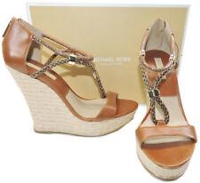 $650 Michael Kors Wedge Sherie Espadrilles Luggage Sandal Shoe 39 Slingback