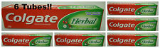 6 Tubes of  200 grams Colgate Herbal 100% Vegetarian Toothpaste  XXL USA SELLER
