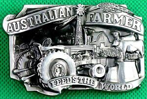 "Belt Buckle ""AUSTRALIAN FARMER"" 4 cm Wide Belt, Custom Made, DIY, Metal Casting."