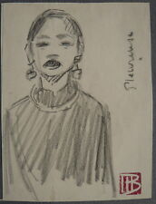 Beau Petit DESSIN Portrait Femme Annamite MARCEL BERNANOSE Indochine c.1910 #5
