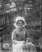 Antique 4x5 Glass Plate Negative SW Pennsylvania Young Lady in a Bonnet c. 1907