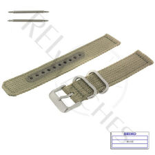 Genuine SEIKO 4K10JZ 18mm Beige Nylon Band + Pins | SNK803 Military Watch Strap