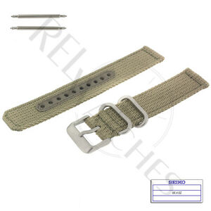 Genuine SEIKO 4K10JZ 18mm Beige Nylon Band + Pins | SNK803 Military Watch Strap