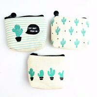 Canvas Cactus Women Girl Kids Change Pouch Coin Purse Wallet Card Storage Bag'