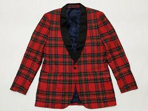 New J Crew Ludlow Blackwatch Shawl Red Plaid Tartan Dinner Jacket Men's 42L