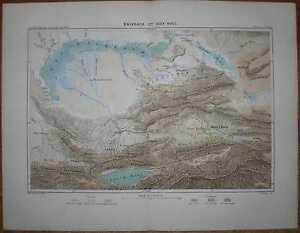 1881 Reclus map LAKE BALKHASH AND LAKE ISSYK KUL, CENTRAL ASIA (#4)
