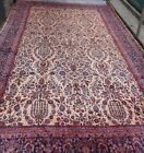 GENUINE ANTIQUE KASHANN FOLORAL HAND KNOTTED WOOL LARGE ORIENTAL RUG 12 x 18.8