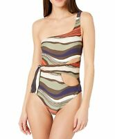 Vince Camuto Womens Swimwear Green Size 6 Wave Cutout One Shoulder $112 366
